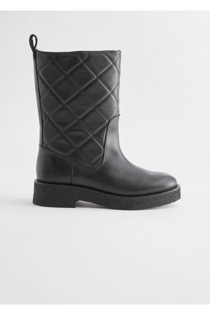 & OTHER STORIES Diamond Quilted Leather Boots