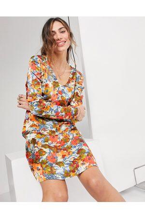 Ghost London mini dress in vintage fluro floral-Multi