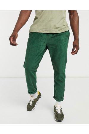 ASOS Cord slim pants with elastic waist in