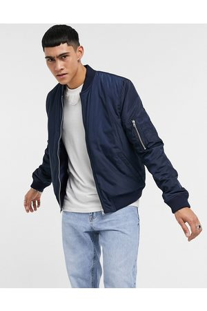 ASOS Quilted bomber jacket with MA1 pocket in navy