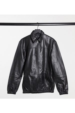 ASOS Tall leather harrington jacket in