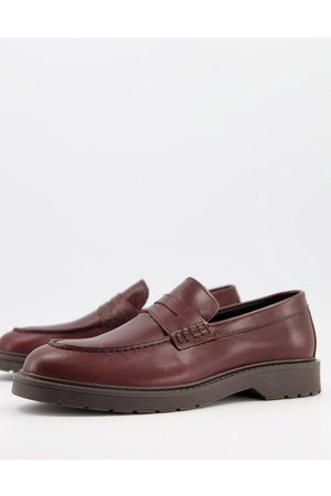 Selected Leather penny loafers with chunky sole in burgundy
