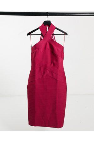 Lipsy London Halterneck bandage dress in