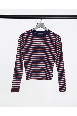 Kickers Long sleeve shrunken t-shirt with front logo in vintage stripe-Navy
