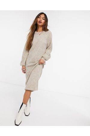 Y.A.S Brushed knit midi dress with balloon sleeves in beige