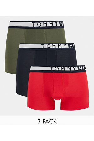 Tommy Hilfiger 3 pack trunks in olive/red/navy with logo waistband-Multi
