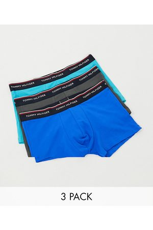 Tommy Hilfiger 3 pack trunks in blue/gray/turquoise with logo waistband-Multi