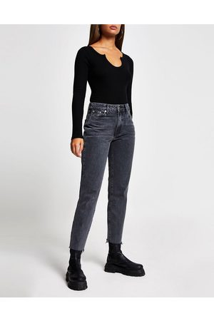 River Island Blair high rise straight cut raw hem jeans in washed