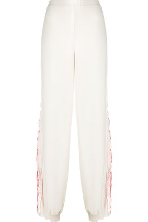 Stella McCartney Cotton track pants with logo stripe down legs - Neutrals