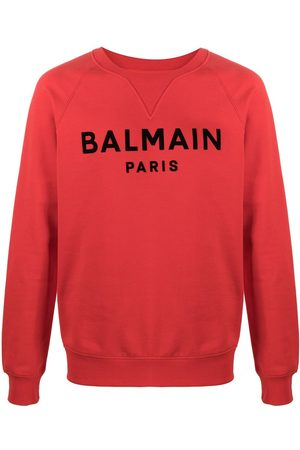 Balmain Men Sweatshirts - Flocked logo sweatshirt