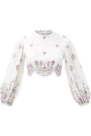ZIMMERMANN Poppy Embroidered Linen-poplin Cropped Top - Womens - Multi
