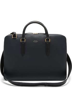 SMYTHSON Men Laptop Bags - Ludlow Grained-leather Briefcase - Mens - Navy