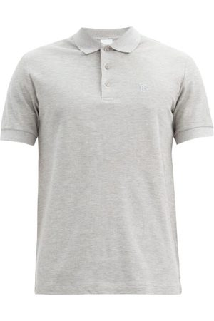 Burberry Eddie Tb-logo Cotton-piqué Polo Shirt - Mens - Grey