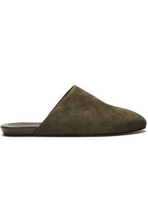 Inabo Slider Suede And Leather Slippers - Mens - Khaki