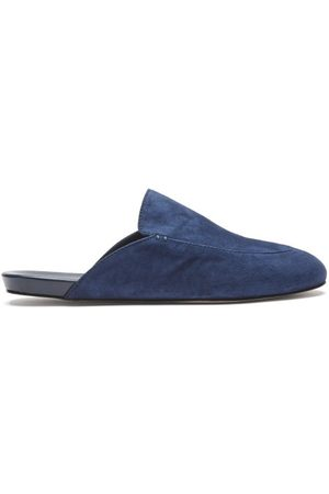 Inabo Slowfer Suede And Leather Slippers - Mens - Navy