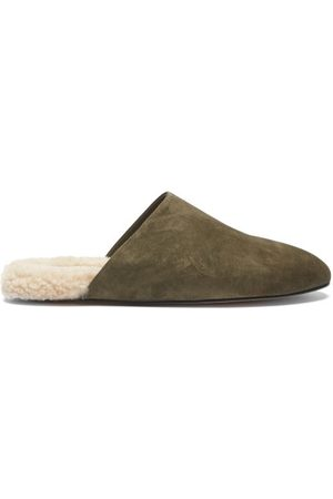 Inabo Men Slippers - Slider Suede And Shearling Slippers - Mens - Khaki