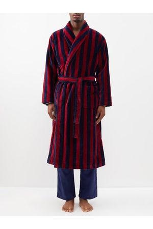DEREK ROSE Triton Belted Striped Cotton-blend Velour Robe - Mens - Multi