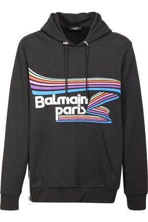 Balmain Over Logo Flock & Rubber Jersey Hoodie
