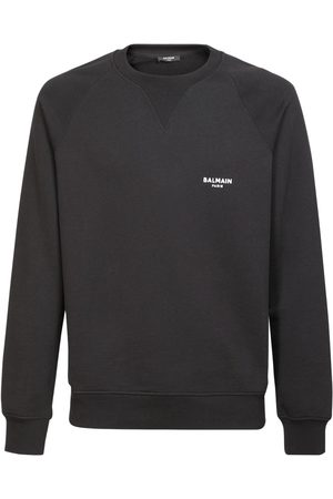 Balmain Flocked Logo Organic Cotton Sweatshirt