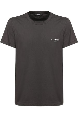 Balmain Men T-shirts - Flocked Logo Organic Cotton T-shirt