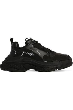 Balenciaga Men Sneakers - Triple S Faux Leather & Mesh Sneakers