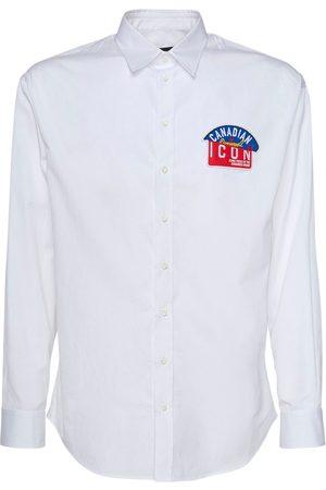Dsquared2 Men Shirts - Icon Patch Cotton Poplin Shirt