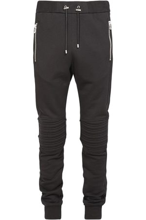 Balmain B Logo Embossed Cotton Jersey Sweatpants