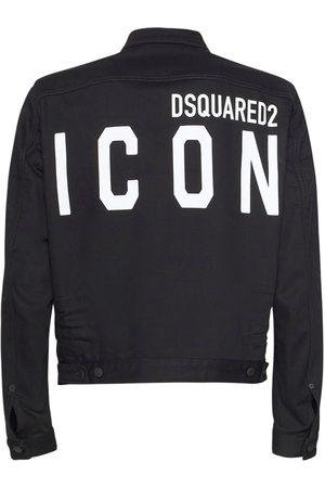 Dsquared2 Print Icon Logo Stretch Dan Denim Jacket