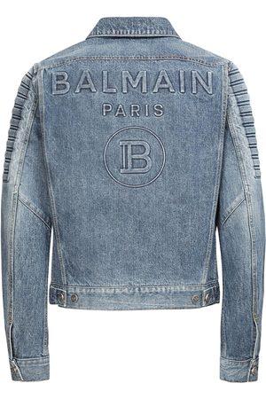 Balmain Logo Embossed Cotton Denim Jacket