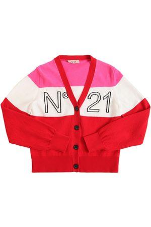 Nº21 Girls Cardigans - Intarsia Logo Cotton Knit Cardigan