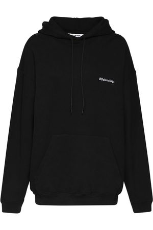 Balenciaga Women Hoodies - Bb Logo Cotton Sweatshirt Hoodie