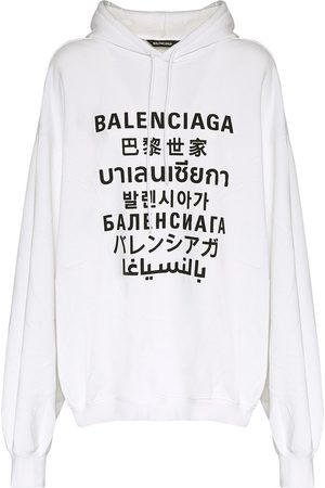 Balenciaga Languages Logo Cotton Blend Hoodie