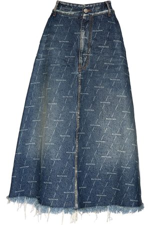 Balenciaga Organic Cotton Denim Knee Length Skirt