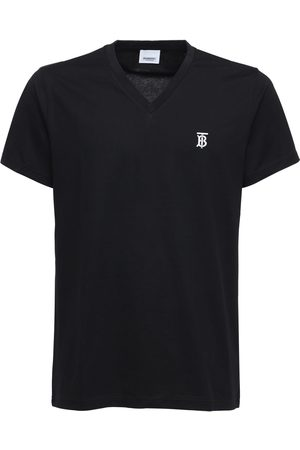 Burberry Tb Embroidery Cotton V Neck T-shirt