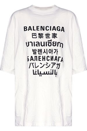 Balenciaga Languages Logo Print Cotton T-shirt