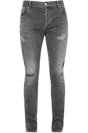 Balmain Repair Selvedge Cotton Denim Slim Jeans