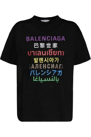 Balenciaga Women T-shirts - Languages Logo Cotton Blend T-shirt