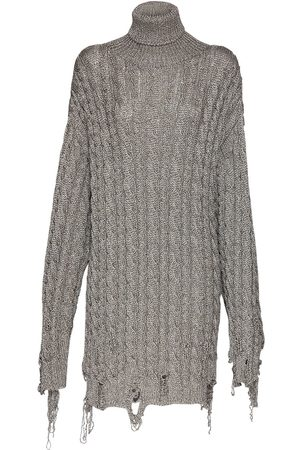 Balenciaga Women Sweaters - Over Chunky Lurex Knit Rib Sweater