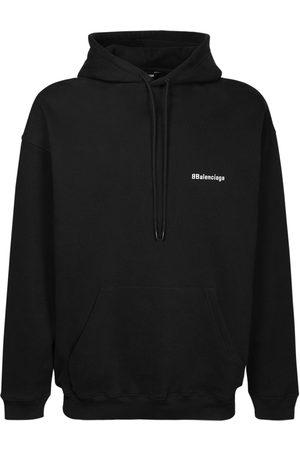 Balenciaga Logo Embroidered Cotton Hoodie