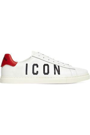 Dsquared2 New Tennis Icon Printed Leather Sneakers