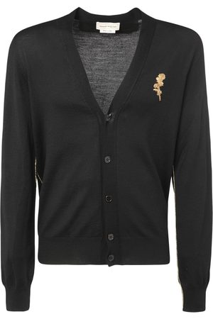 Alexander McQueen Floral Embroidery Wool Knit Cardigan
