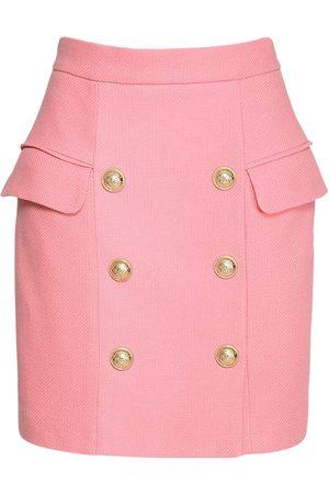 Balmain High Waisted Cotton Piqué Mini Skirt