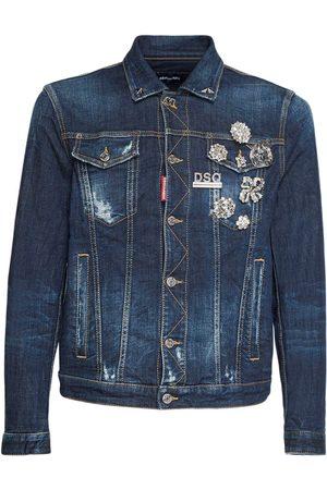 Dsquared2 Men Denim Jackets - Stretch Cotton Denim Jacket W/ Pins