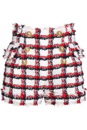 Balmain Checked Wool Blend Tweed Shorts