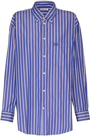 Balenciaga Women Shirts - Striped Poplin Over Shirt W/bb Logo
