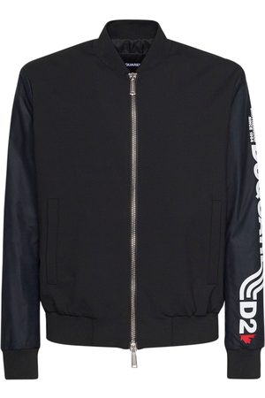 Dsquared2 Logo Stretch Wool Zip Bomber Jacket