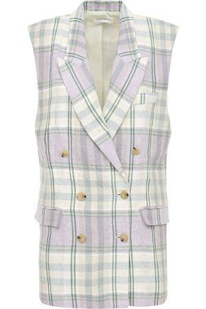 Isabel Marant Ipegie Short Sleeve Check Linen Blazer