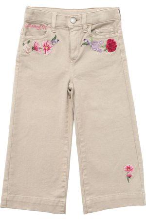 MONNALISA Stretch Denim Jeans W/ Embroideries