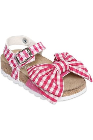 MONNALISA Gingham Faux Leather Sandals W/ Bow