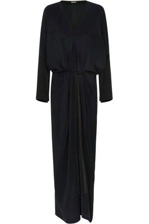 Loewe V Neck Light Silk Crepe Kimono Dress